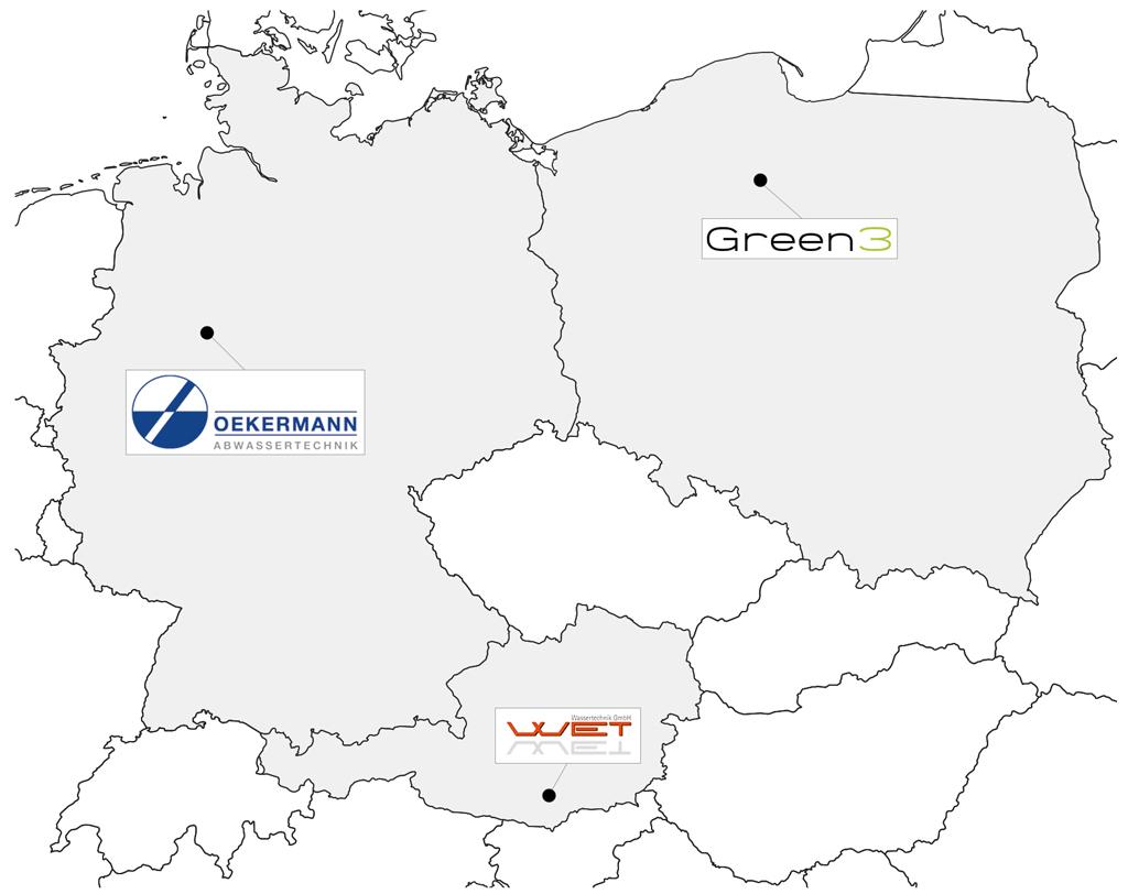 Oekermann Abwasstechnik - Europakarte mit Partnern