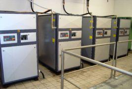 Arbeitskompressoren - Schraubenkompressoren einer pneumatischen Abwasser-Förderanlage